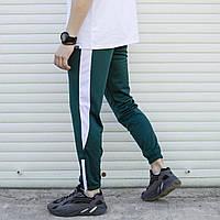Мужские спортивные штаны зеленые с белыми вставками и с манжетом на молнии