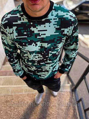 Стильный мужской свитшот кофта зеленого цвета Пиксель