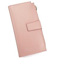 Гаманець шкіряний жіночий на кнопці рожевий Badura B-52-49 pink