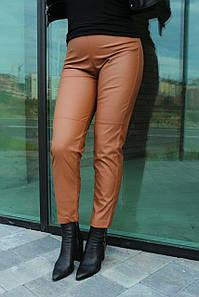 Брюки женские стильные с высокой посадкой из эко-кожи укороченные №952 мокко цвета