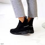 Женские ботинки ДЕМИ черные с молнией на шнуровке натуральная замша весна/осень, фото 3