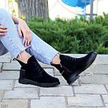 Женские ботинки ДЕМИ черные с молнией на шнуровке натуральная замша весна/осень, фото 4