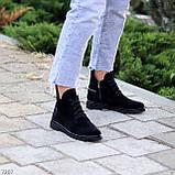 Женские ботинки ДЕМИ черные с молнией на шнуровке натуральная замша весна/осень, фото 5