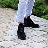 Женские ботинки ДЕМИ черные с молнией на шнуровке натуральная замша весна/осень, фото 6