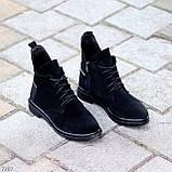 Женские ботинки ДЕМИ черные с молнией на шнуровке натуральная замша весна/осень, фото 2