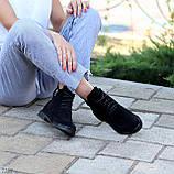 Женские ботинки ДЕМИ черные с молнией на шнуровке натуральная замша весна/осень, фото 7