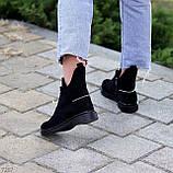 Женские ботинки ДЕМИ черные с молнией на шнуровке натуральная замша весна/осень, фото 8