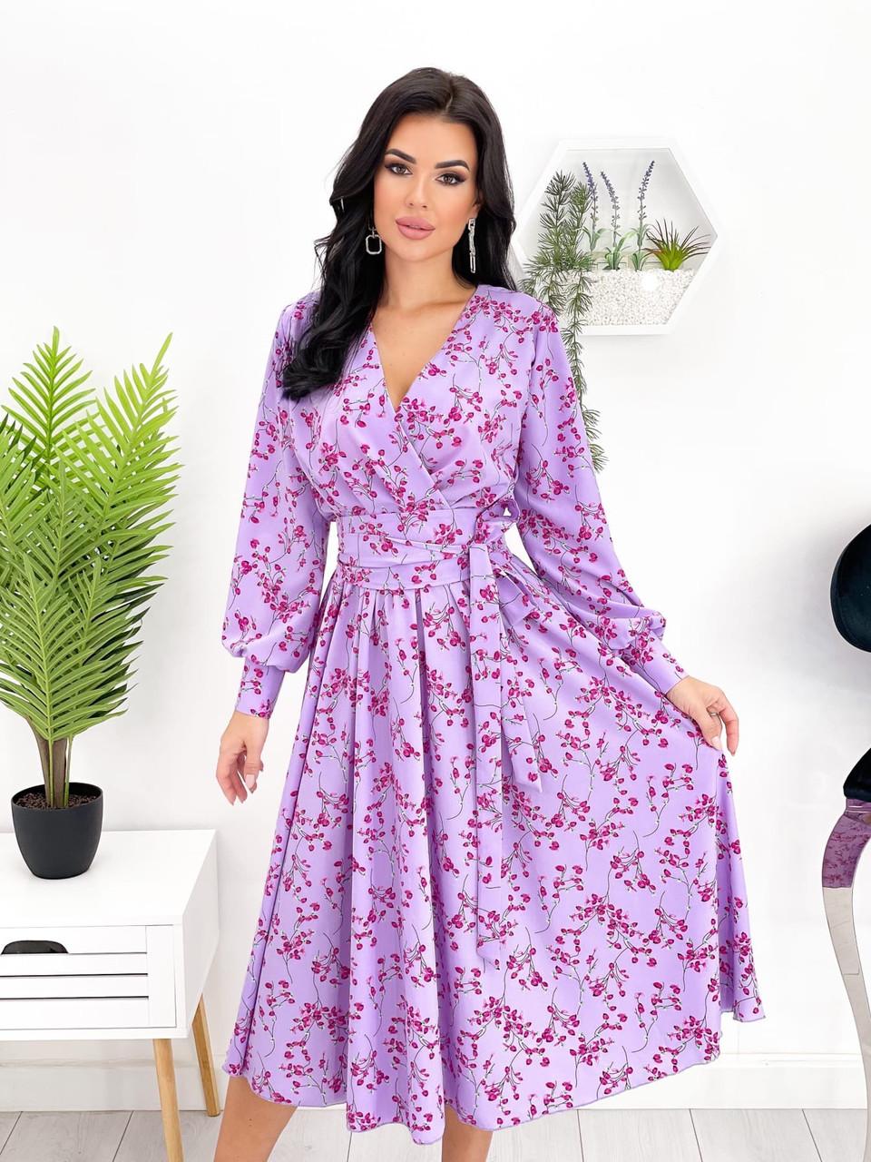Жіноче плаття міді з квітковим принтом