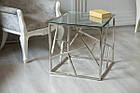 Кавовий столик CF-2 прозоре скло + срібло від Vetro Mebel, фото 2