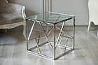 Кавовий столик CF-2 прозоре скло + срібло від Vetro Mebel, фото 3