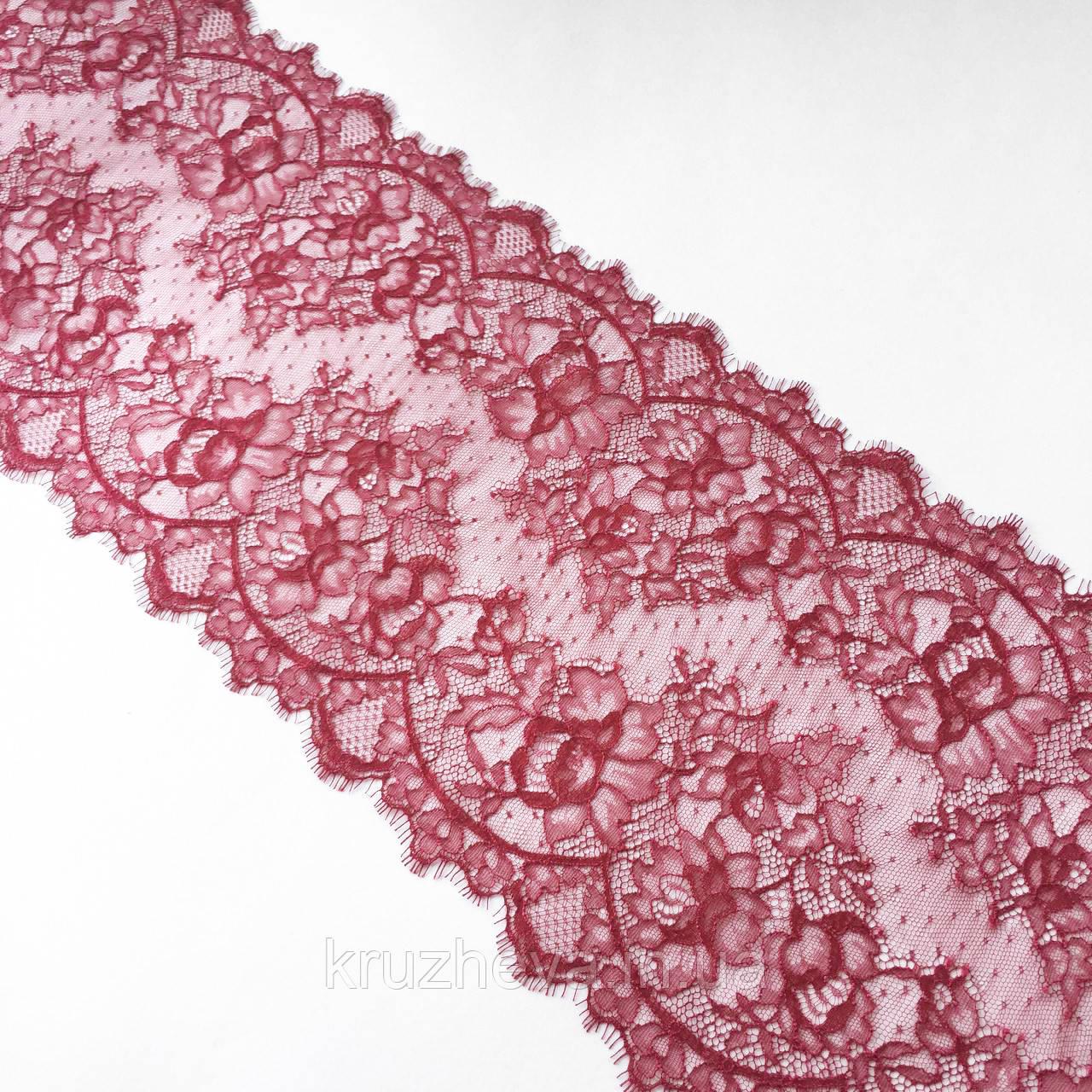 Ажурне французьке мереживо шантильї (з віями) малинового кольору шириною 23 см, довжина купона 2,5 м.