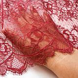 Ажурне французьке мереживо шантильї (з віями) малинового кольору шириною 23 см, довжина купона 2,5 м., фото 4