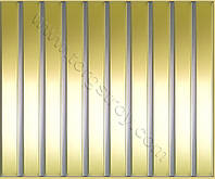 Реечные алюминиевые зеркальные потолки: рейка золото-зеркало со вставкой металлик