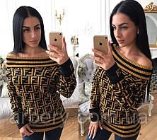 Женский вязанный свитер со спущенными плечами