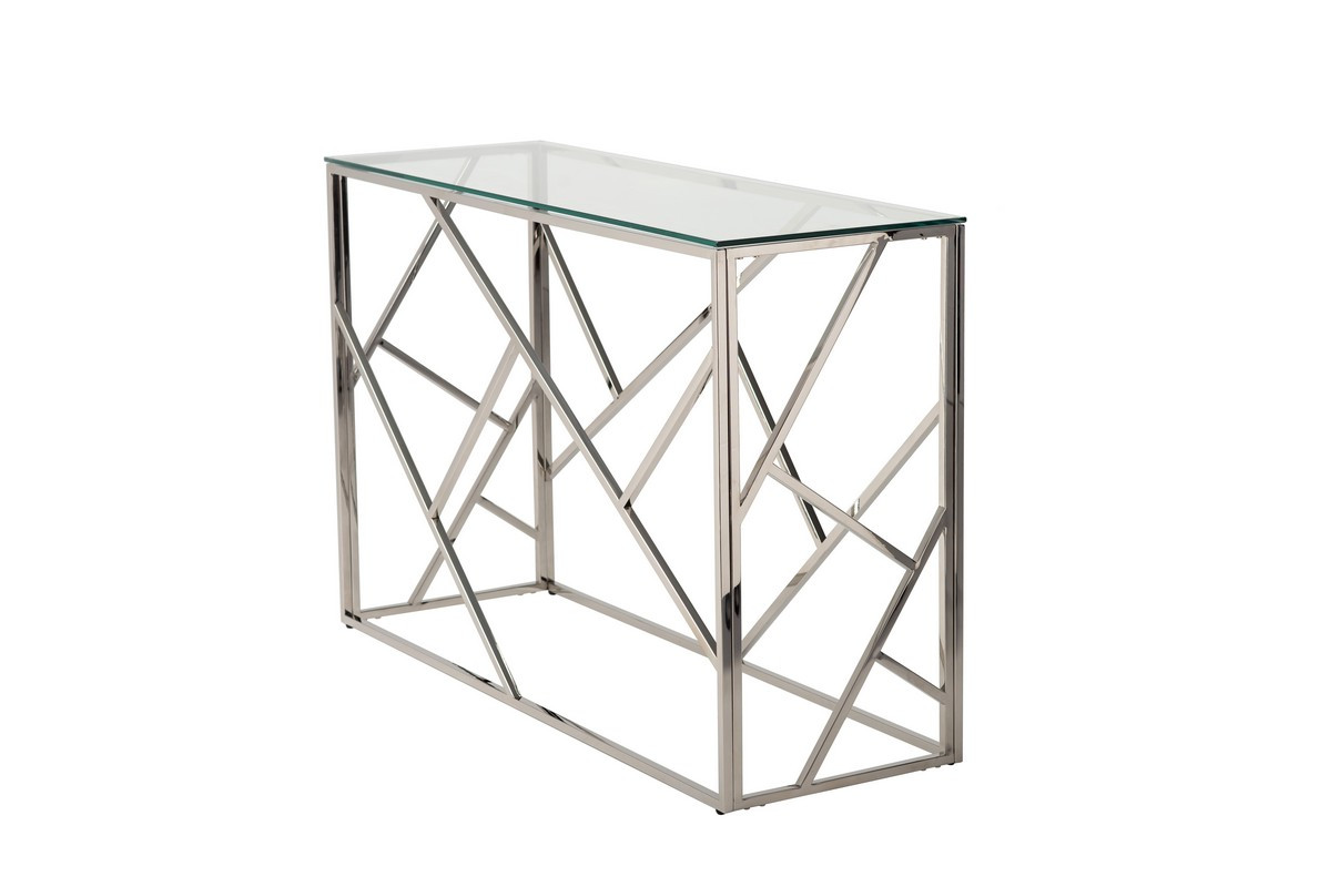Кофейный столик - консоль CF-3 прозрачное стекло + серебро от Vetro Mebel