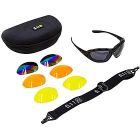 Спортивні сонцезахисні окуляри Для бігу та туризму 5.11 В футлярі зі змінними лінзами Чорні (MS-6375)