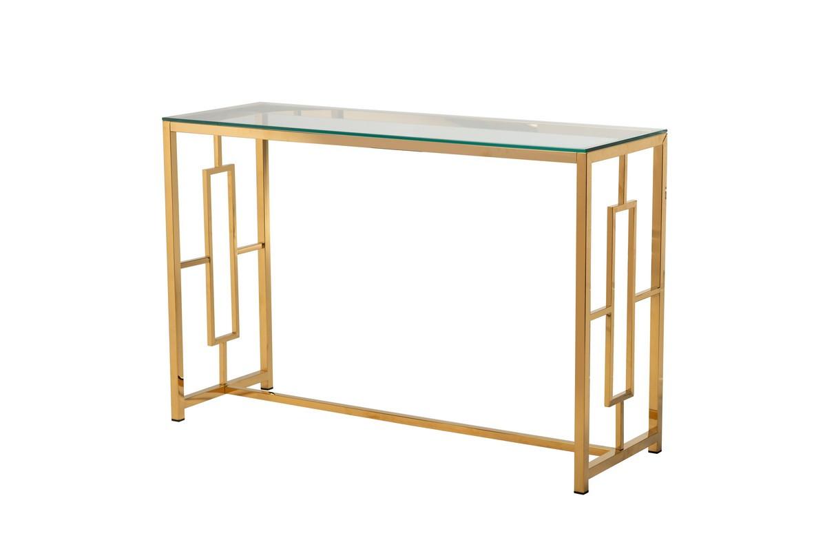 Кофейный столик - консоль CL-3 прозрачное стекло + золото от Vetro Mebel