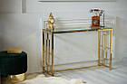 Кофейный столик - консоль CL-3 прозрачное стекло + золото от Vetro Mebel, фото 3