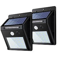 Led светильник на солнечной батарее уличный с датчиком движения 20 LED комплект 2 шт, фото 1