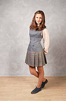 Классический сарафан школьный серый, платье для девочки в школу, школьный сарафан, школьная форма