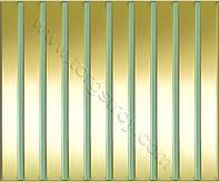 Реечные алюминиевые зеркальные потолки: рейка золото-зеркало с зеленой вставкой