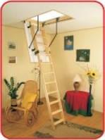 Деревянная складная лестница с люком Oman Easy Step