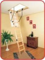 Чердачная складная лестница дерево OMAN Termo Long