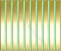 Реечные алюминиевые зеркальные потолки: рейка золото-зеркало с светло-зеленой вставкой