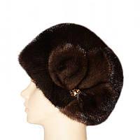 """норковая  шапка модель """"конфетка , цветок"""" цвет орех"""