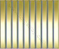 Реечные алюминиевые зеркальные потолки: рейка золото-зеркало с светло-синей вставкой