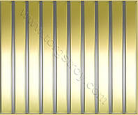 Реечные алюминиевые зеркальные потолки: рейка золото-зеркало со вставкой нержавейка