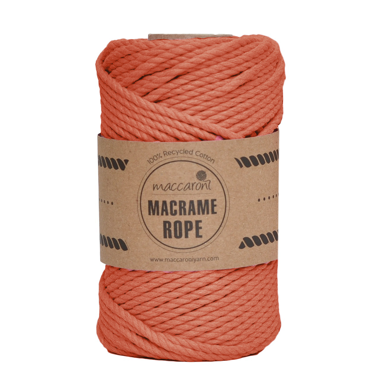 Бавовняний шнур Maccaroni Macrame Rope 4 mm Теракотовий