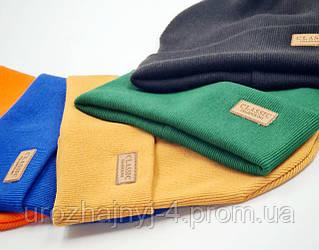 Дитяча трикотажна подвійна шапка зі шкіряною нашивкою 52-54р код 3167 Glory-kids