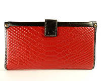 Купюрник, портмоне, кошелек кожаный женский красный, съемное отделение