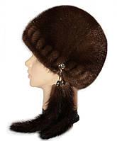 """норковая  шапка модель """"конфетка резаная"""" цвет орех"""