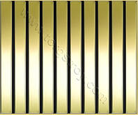 Реечные алюминиевые зеркальные потолки: рейка золото-зеркало с черной вставкой