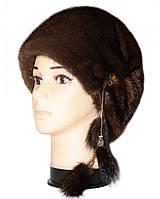 """норковая  шапка модель """"конфетка лучики"""" цвет орех"""