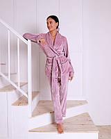 Пижамный комплект (брюки +жакет  с запахом) EVA , велюр,  цвет пудра S/M/L