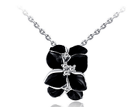 "Кулон Swarovski на цепочке ""Черная орхидея в серебре"", фото 1"