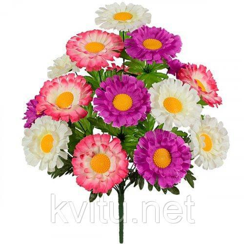 Букет штучні хризантеми триколірні, 49см
