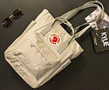 Сумка рюкзак 2в1 Kanken FJALLRAVEN Totepack Канкен 14 л серая повседневная городская сумка-рюкзак трансформер, фото 2