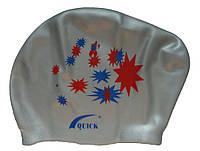 Плавательная шапочка для длинных волос (цвет серебристый, рисунок звёздочки)