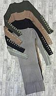Платье рубчик рукава на застежках для девушек размер 42-46, цвет микс в упаковке