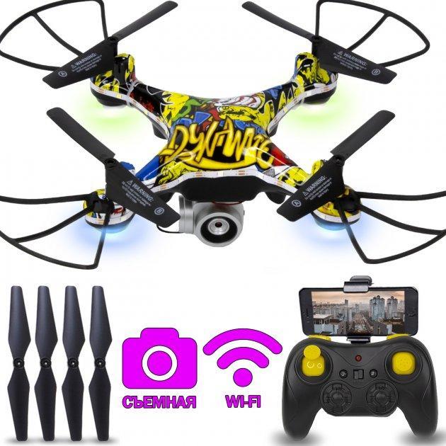 КВАДРОКОПТЕР з Радіоуправлінням Graffiti Drone D12 WiFi з Пультом Д/У і Камерою WIFI Дрон НЛО з Підсвічуванням