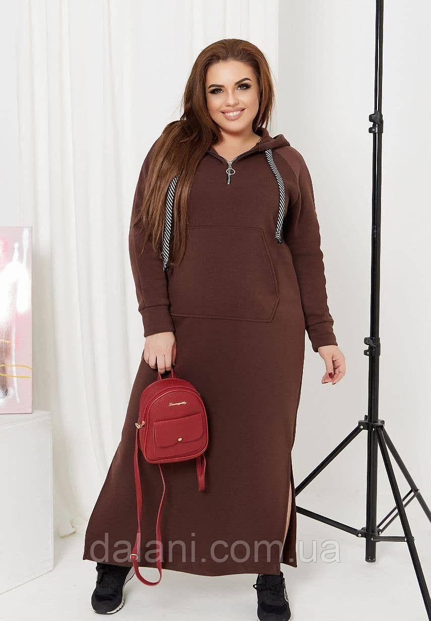 Женское коричневое платье макси с боковыми разрезами и капюшоном