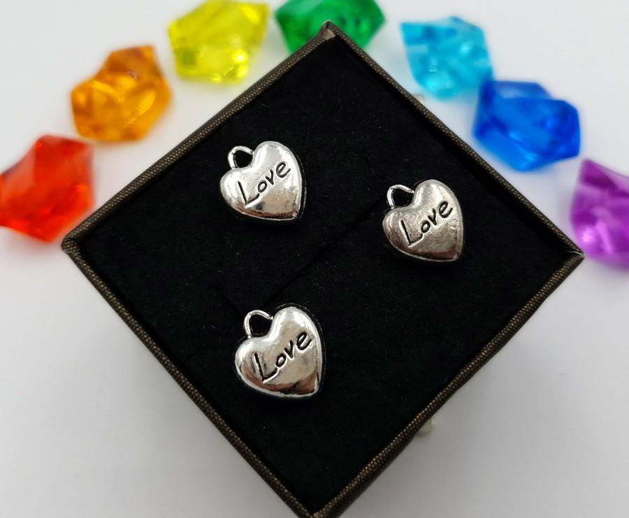"""(10шт) Кулони з металу, підвіска """"Серце LOVE"""""""