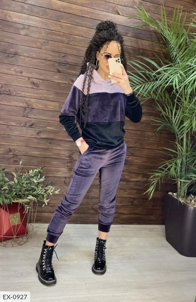 Велюровый спортивный костюм женский трехцветный красивый демисезонный модный  р-ры S, M, L, XL арт. 0924/0927