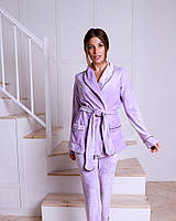 Пижамный комплект (брюки +жакет  с запахом) EVA , велюр,  цвет лиловый S/M/L
