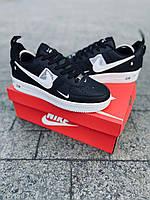 Форсы черные с белой подошвой НАЙК, Nike Air Force Black&White,мужские кроссовки