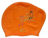 Плавательная шапочка для длинных волос (цвет оранжевый, рисунок ноты)